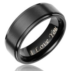 "Wedding Band in Black Plated Titanium. Ring is wide, black plated and has a flat brushed top and grooved polished finish edges. Laser etched on the inside of the ring with the phrase ""I Love You"" in contemporary script font. Titanium Rings For Men, Titanium Wedding Rings, Wedding Ring Bands, Male Wedding Rings, Black Wedding Bands, Wedding Ring For Him, Men Rings, Rings Pandora, Promise Rings For Guys"