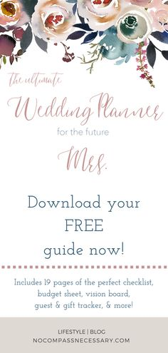 The perfect wedding planner every bride needs for planning an amazing wedding. This FREE planner includes 19 pages of amazing tips and tools to keep you organized.