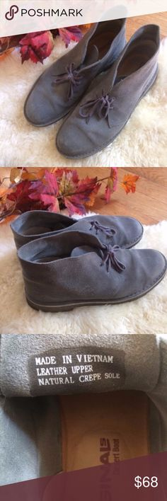 """Men's Clarks Original Desert Gray Boots 10 Clark's Originals Men's Desert Boot, in Grey distressed, size 10. EUC, great condition, non smoking home. Only worn a few times. Open to offers.  Leather Imported Crepe sole Shaft measures approximately 4.5"""" from arch Imported Crepe sole Stabilizing suede-lined heel counter Platform measures approximately 0.5"""" Heel measures approximately 1"""" Clarks Shoes Boots"""