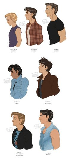 I'm in love with doing fanart of this movie, and I love to explore and play with the differences between the characters! I base how I draw them on the m. The Outsiders Ponyboy, The Outsiders Quotes, The Outsiders Cast, The Outsiders Imagines, Movies To Watch, Good Movies, 90s Movies, The Outsiders Preferences, Greaser Girl