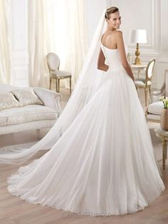 Princess One Shoulder Tulle Sweep Train Appliques Wedding Dresses