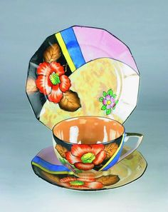 Art Deco Cup, Saucer and Plate.