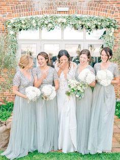 7657febb844 Shinning Sequin V-Neck Chiffon Long Bridesmaid Dresses