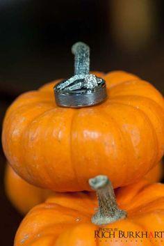 The little pumpkins made a perfect background for the rings!  Fall ring shot. Photos by Rich Burkhart, Savannah, GA wedding photographer. Www.photosbyrb.com