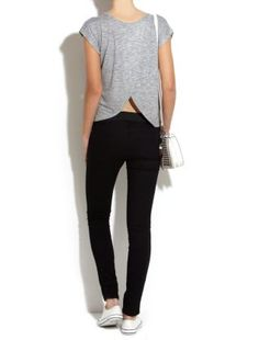 back of the Grey Studded Tulip Back T-Shirt