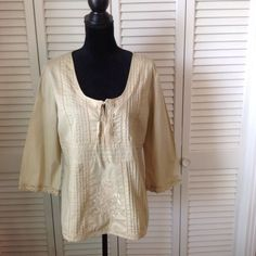 """Blouse 💕100% Cotton Blouse with pleated and embroidered detailing. 3/4"""" sleeves. Lace trim around bottom and on the sleeves.  New Without Tags.💕 Very Pretty Blouse 💕 Cato Tops Blouses"""