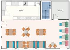 Cafe and Restaurant Floor Plans Restaurant Floor Plan, Deco Restaurant, Shop Layout, Cellphone Wallpaper, Small House Plans, Building Plans, Icecream, Sims, Bakery