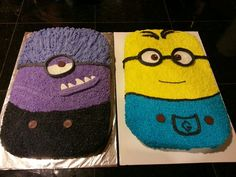 Pacey's 8th birthday Minion cake just finished the purple is chocolate cake and the yellow minion is banana cake. :)
