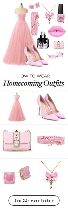 """Pretty In Pink"" by tiskfashionrisk on Polyvore featuring Yves Saint Laurent, OPI, Kate Spade, Valentino, Vince Camuto and Gianvito Rossi"