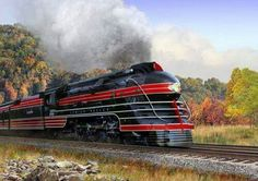 Painting of LeHigh Valley K5B Pacific Streamlined Locomotive by Mark Karvon
