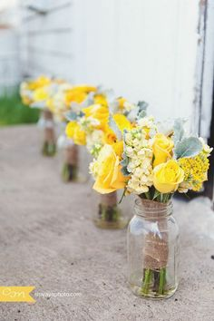 Yellow and Gray Wedding Flowers | Erin Volante Floral