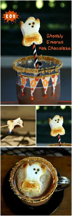 Ghostly S'mores Hot Chocolate! This is SO fun for #Halloween! Perfect for fall parties   http://www.thecookierookie.com/ghostly-smores-hot-chocolate-simply-sated/  