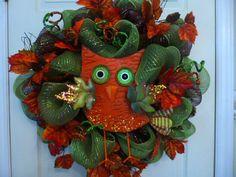 Fall Owl Deco Mesh Wreath by HearttoHeartNC on Etsy, $64.00
