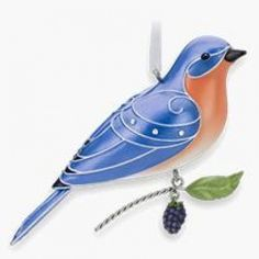 2010 Beauty Of Birds - Eastern Bluebird Hallmark ornament. This Eastern Bluebird is in the Beauty of Birds series. Ornate bluebird is perchedcalmly Hallmark Christmas Ornaments, Bird Ornaments, Hallmark Keepsake Ornaments, Christmas Tree, Christmas Ideas, State Birds, Little Birdie, Bird Art, Blue Bird