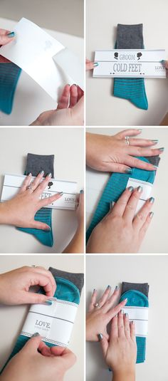 Wedding #DIY ~ a gift for your groom... 'cold feet' socks, so easy!
