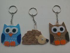 Cute Felt keyring woodland creatures, owl and hedgehog keychain, owl lovers gift, bag charm. by TheCraftingGardener on Etsy