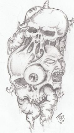 MORBID VISIONS by on DeviantArt - custom tattoo design for the shoulder onto chest. These desxigns ar - Evil Skull Tattoo, Skull Tattoo Flowers, Evil Tattoos, Skull Sleeve Tattoos, Creepy Tattoos, Skull Tattoo Design, Tattoo Design Drawings, Tattoo Sketches, Body Art Tattoos