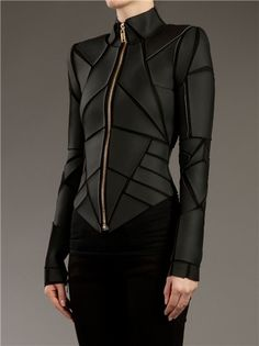 black geometric paneled moto jacket by Gareth Pugh