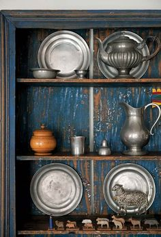 Pewter cupboard.