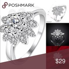 Beautiful Sterling Silver Floral CZ Ring Brand New .925 Sterling Silver Stamped #R064 Jewelry Rings