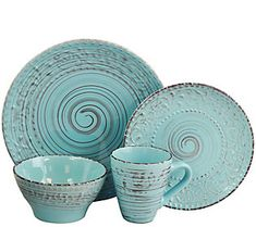 Give your table a rustic look with this Elama Malibu Waves dinnerware set. Rich turquoise color and subtle swirl pattern add a beautiful look to each piece, Beach Theme Kitchen, Kitchen Themes, Kitchen Ideas, Kitchen Stuff, Kitchen Decor, Kitchen Dining, Dining Room, Kitchen Dishes, Kitchen Gadgets