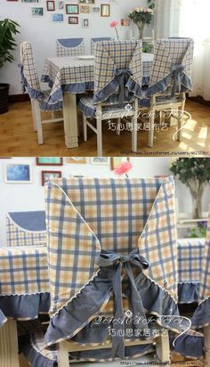 We sew cloths, covers on chairs (kitchen). Chair back covers to match the tablecloth. Chair Back Covers, Chair Backs, Chair Covers, Table Covers, Kitchen Table Chairs, Living Room Chairs, Dining Chairs, Crochet Cushion Cover, Furniture Covers