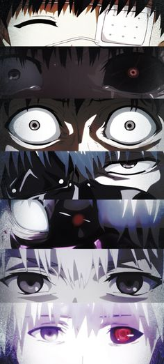 The passage of time in the eyes of Kaneki.