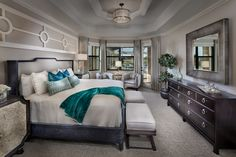 Gorgeous master bedroom in our brand new Lantana model home in Treviso Bay in Naples!