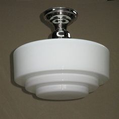Very Large Vintage Milk Glass Ceiling Fixture by AntiqueLighting, $550.00