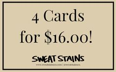 Greeting Card Set by SweatStains on Etsy Sweat Stains, Greeting Cards, Etsy, Pit Stains