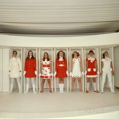 Models Wearing Red and White Ready to Wear Fashions Designed by Andre Courreges Valokuvavedos