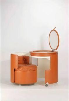 Luigi Massoni, Dilly Dally Vanity/Seating/Table/Storage (in seat) 4 in 1 uses. Unique Furniture, Vintage Furniture, Diy Furniture, Furniture Design, Online Home Design, Oil Barrel, Home Design Magazines, Metal Drum, Barrel Furniture