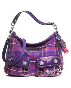Coach Signature Poppy Tartan Poppy Swing Berry Multi ~ ~ ~ Think I've got to have this! Coach Bags Outlet, Cheap Coach Bags, Coach Handbags, Coach Purses, Purses And Handbags, Fru Fru, Purple Purse, Coach Poppy, Purple Band