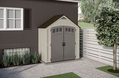 Finding the perfect storage solution for your yard is simpler than you may think. The COVINGTON® Storage Shed from Suncast provides 171 cu., this storage shed comes loaded with smart features Suncast Sheds, Resin Sheds, 12x24 Shed, Shed Floor, Siding Colors, Garden Equipment, Backyard Sheds, Shed Storage, Shed Plans