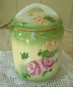 .Limoges Painted Porcelain, China Porcelain, Hand Painted, Limoges China, Jelly Jars, Rose Design, Cookie Jars, Fine China, Vintage Green