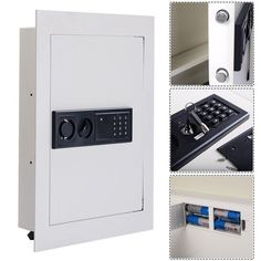 Digital Security Safe Flat Recessed Wall Lock Gun Cash Box Electronic Home White #DigitalSecuritySafe
