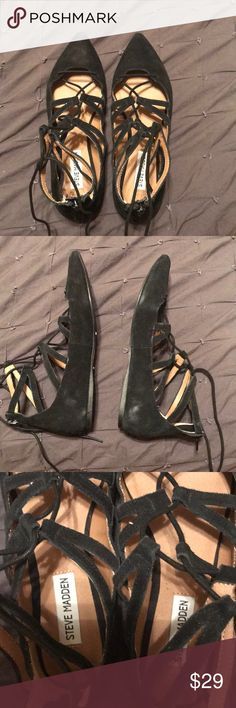 Suede Pointy Toe Lace up flats Never worn but has some storage marks on suede as in pic 2 Steve Madden Shoes Flats & Loafers