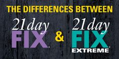 Learn the difference between 21 Day Fix & 21 Day Fix Extreme 21 Day Fix is designed for people with very little nutritional knowledge and are more often than not, fitness beginners who are looking to lose weight. 21 Day Fix EXTREME is a graduate program meant for people who are more confident with nutrition, have experience working out, and Continue Reading