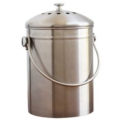Make an effort to compost with the help of the Natural Home Brands Stainless Steel Gallon Compost Bin . This sturdy bin features stainless steel. Stainless Steel Straws, Stainless Steel Kitchen, Brushed Stainless Steel, Garden Compost, Vegetable Garden, Reuse Recycle, Recycling, Reduce Reuse, Home