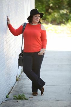 What I wore featuring an orange cold shoulder sweater from Trouve, JAG Jeans, leopard calfhair booties, and a Rebecca Minkoff moto bag. Plus Size Fashion For Women, Fashion Tips For Women, Womens Fashion, Chic Black Outfits, Cool Outfits, Fall Fashion Trends, Autumn Fashion, Rocker Chic Outfit, Plus Size Workwear