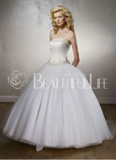 Satin Organza Ball Gown Strapless Sweep Train Bridal Dress With Embroidery– Discount Ball Gown Wedding Dresses