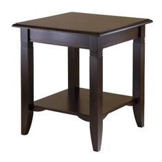 Winsome Wood Nolan End Table by Winsome Wood. $69.00. Shelf for storage or display of art work. Wood End Table. Cappuccino finsih. Carved and Curved legs give a traditional look. Easy to assemble with parts and tools included. Clean, traditional lines make Nolan end table a great fit for any décor and home. The lower shelf gives more room to display and storage. Made of solid and composite wood. Easy to Assemble.. Save 31%!