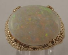 Vintage 4.90ct Australian Fire Opal 14k Yellow Gold Cocktail Ring