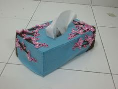 sakura, tissue box, cover, felt, craft, handmade, cantik