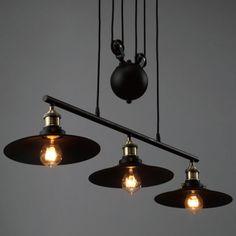 3 Light 35'' Wide Industrial Style Linear Chandelier