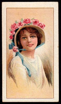 https://flic.kr/p/7mPLnU | Cigarette Card - Beauties in Picture Hats | Wills's Scissors Cigarettes (India) ~  Beauties, Picture Hats (series of 32 issued in 1914) #12