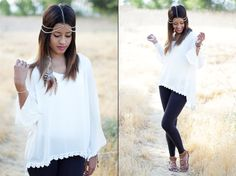 Blogger Auteur Ariel in our gorgeous white crochet trim blouse available at www.shoppinkblush.com #fashion #style #outfitinspiration #fanphoto #summeroutfits #affordablefashion