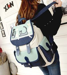 Cute cat students wave point canvas backpack · Asian Cute {Kawaii Clothing} · Online Store Powered by Storenvy Preppy Clothes, Preppy Outfits, Totoro Backpack, Asian Cute, Denim Bag, Canvas Backpack, My Collection, Online Clothing Stores, Fabric Material