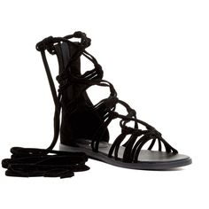OPPO Rita Lace-Up Cord Gladiator Sandal ($25) ❤ liked on Polyvore featuring shoes, sandals, black, wrap sandals, black lace up flats, lace up sandals, lace up flats and black shoes