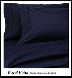 """Royal Hotel's 8pc Queen size Bed-in-a-Bag Striped Navy 1200-Thread-Count Siberian Goose Down Comforter 100 percent Egyptian-Cotton 1200 TC - includes sheets and Duvet Cover Sets by Royal Hotel. $299.95. Luxury goose down Bed-in-a-Bag 1pc comforter with 4pc Sheets and 3pc Duvet Cover Sets. 1 Duvet-Cover (90"""" x 92"""") 2 Pillow Sham (20"""" x 26"""") W/ Button Closure. Queen size includes 90x90 inches Comforter, filling with 750+ Fill power, 50 oz, 100% Goose Down.. 1 Flat Sheet..."""
